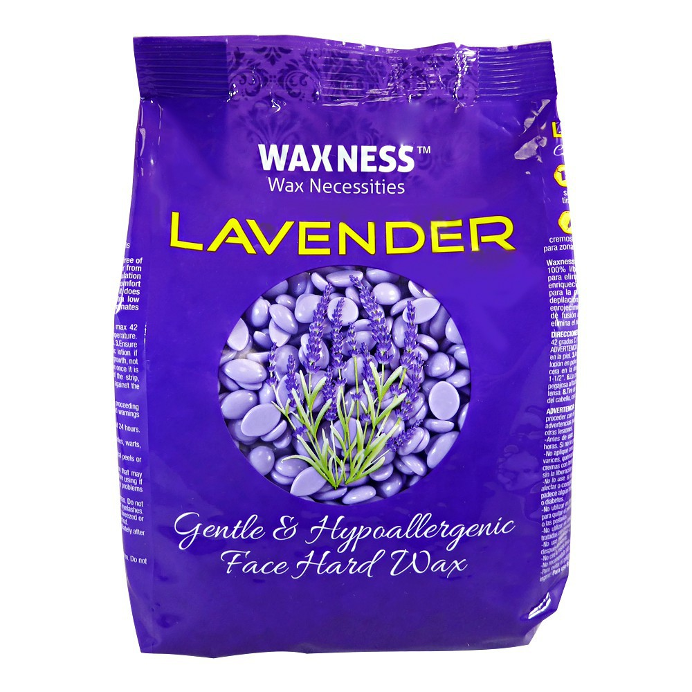 Polymer Blend Premium Luxury Face Hard Wax Beads with Lavender Oil 0.8 Lb / 400 G